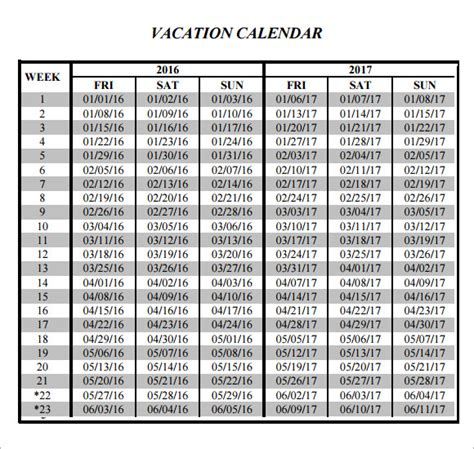 Vacation Calendar Sle Vacation Calendar 6 Documents In Pdf