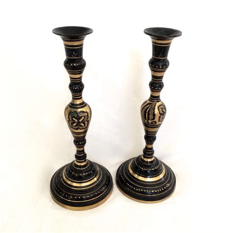 Black And Gold Candle Holders Carved Brass Candlesticks Black And Gold Candle Holders India