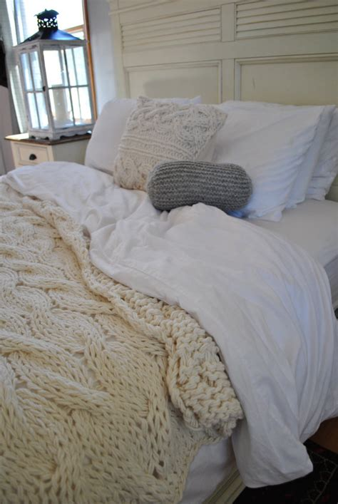sweater comforter chunky cable knit blanket in cream irish wool by