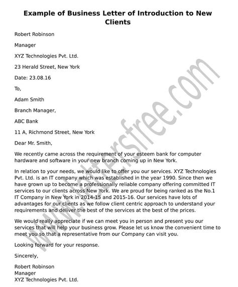 Company Introduction Letter New Business sle business letter of introduction to new clients free letters