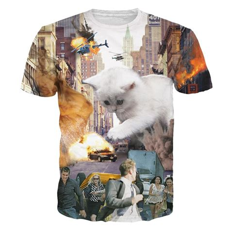 8 Funniest Cat T Shirts by Collection Of 3d Cats Print T Shirts