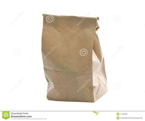 Paper Bag Fold - paper bag folded at top isolated on white stock photos