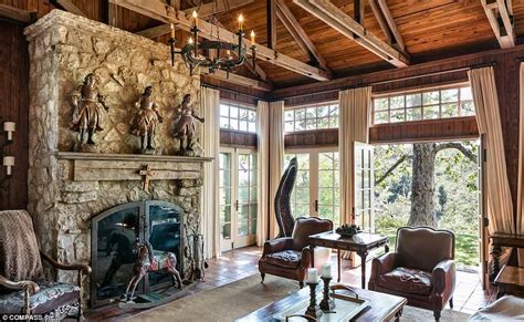 renaissance themed living room living area patio unit the villa mel gibson lists medieval style malibu mansion for 17 5m