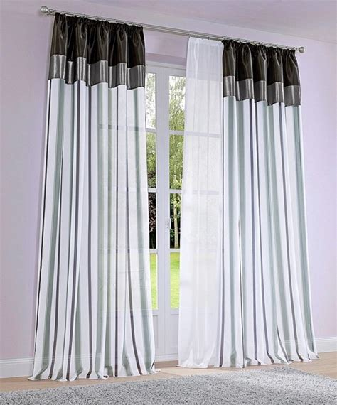 gardinen grau weiß gestreift 2 st gardine voile store 145x145 wei 223 grau schwarz vorhang