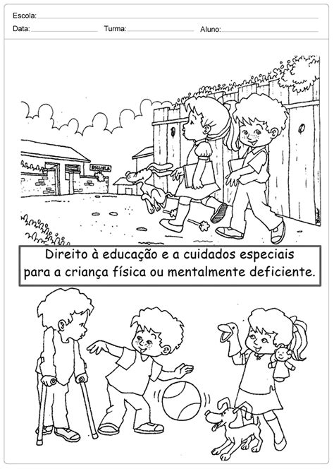 Atividades Direito das Crianças: Colorir. – Educação e