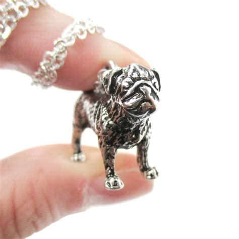 pug charm necklace 3d realistic pug animal shaped breed like charm necklace in shiny silver