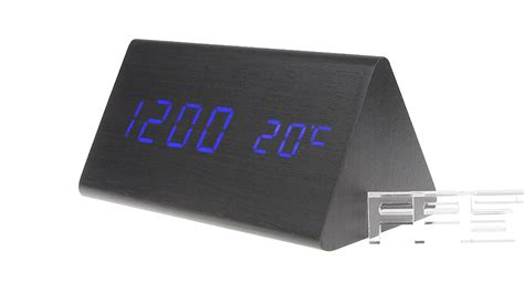 15 15 wooden triangle blue led digital alarm clock voice function time date