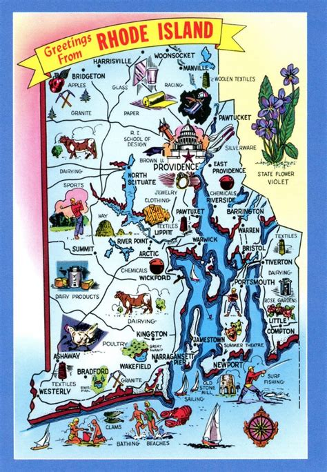 rhode island on map maps rhode island postcard maps