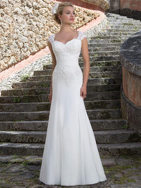 Sabrina Chiffon Grace sincerity 3903 slim a line bridal dress
