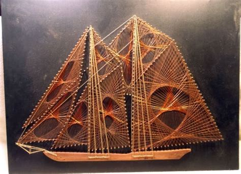 String Boat - vintage copper wire string burlap board nail picture