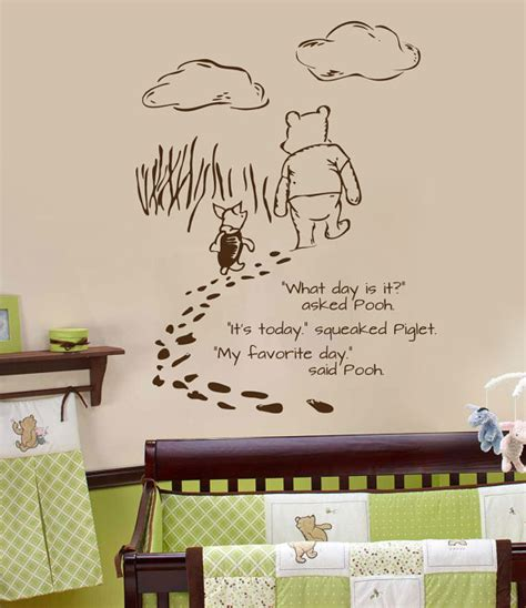 classic winnie the pooh wall stickers classic pooh wall decal foot prints by wildgreenrose on etsy