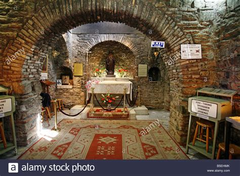 house of the virgin mary interior of the house of the virgin mary ephesus turkey stock photo royalty free