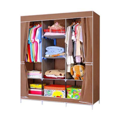 Lemari Pakaian Portable jual starhome organizer portable lemari pakaian multifungsi coklat 2 tempat gantungan baju