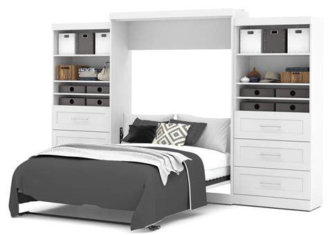 pur white  queen wall drawer storage bed  bestar