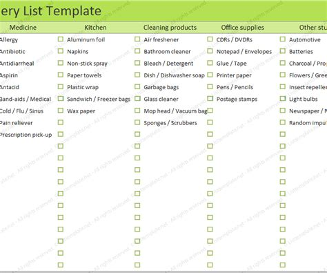 household shopping list template grocery list list templates