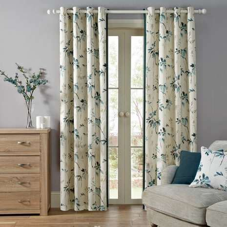 teal eyelet lined curtains oriental burst teal lined eyelet curtains dunelm