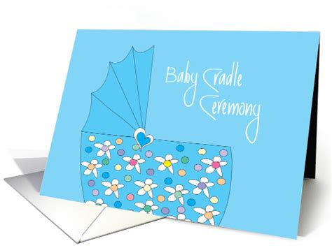 Invitation For Baby Boy Cradle Ceremony With Blue Basinette Card Cradle Ceremony Invitation Templates