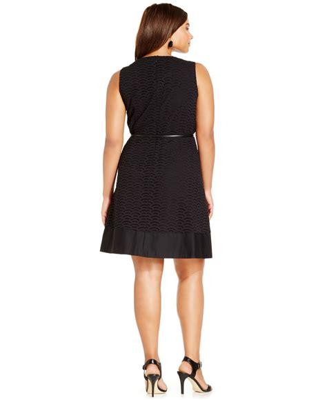 calvin klein plus size eyelet a line belted dress in black