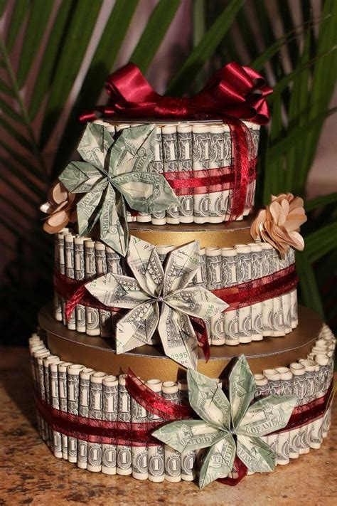 Origami Birthday Gift Ideas - money cake with money flowers made with real 1 dollar and