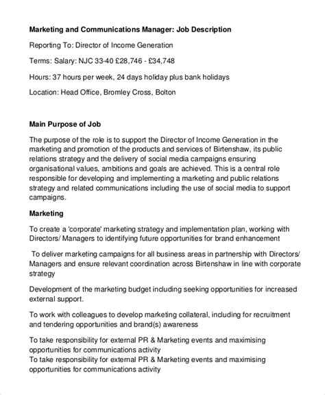 Advertising Managers Description by Sle Marketing Manager Description 8 Exles In Pdf