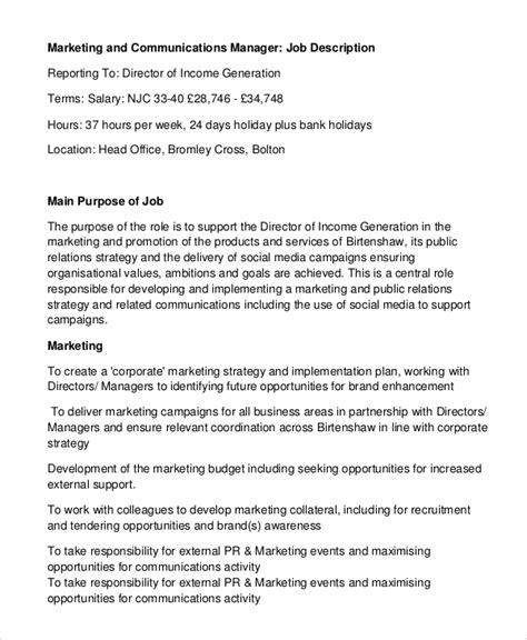 sle marketing manager description 8 exles in pdf