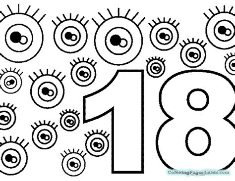 coloring page number 18 printable number 18 coloring page coloring pages for kids