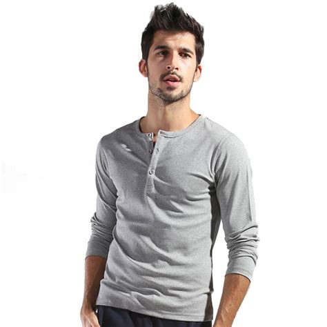 Sleeve Henley autumn s basic sleeve henley shirts slim cut