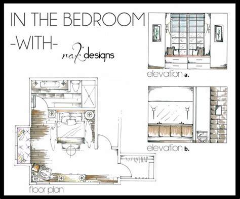 bedroom interior design floor plan  elevations