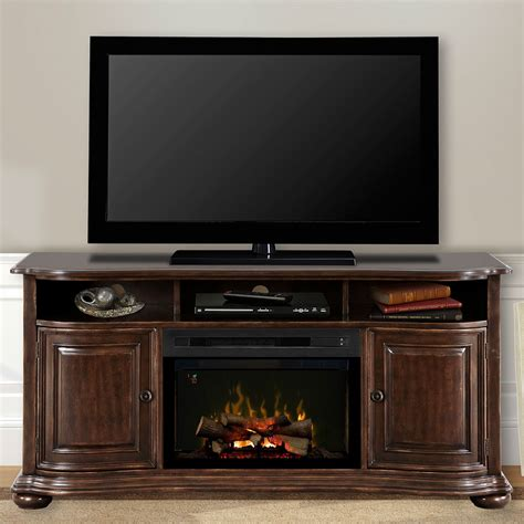 Entertainment Center With Electric Fireplace Henderson Distressed Cherry Electric Fireplace Entertainment Center W Logs Gds25ld 1414hc
