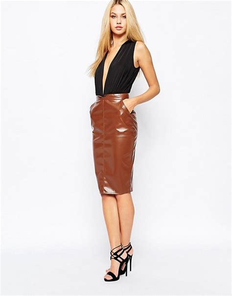missguided missguided faux leather pencil skirt