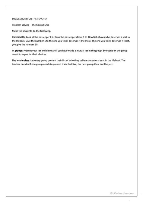 sinking ship activity problem solving 2 the sinking ship worksheet free esl