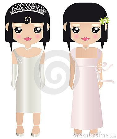 Paper Dolls With White Wedding Dresses by Paper Dolls In Formal Wedding Stock Image Image 8030211