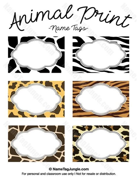 printable zoo animal name tags free printable animal print name tags the template can