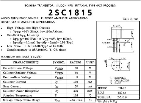 transistor datasheet c1815 transistor tuong duong c1815 28 images v 242 ng đeo tay hỗ trợ người m 249 cộng đồng arduino