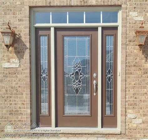 Steel Front Doors With Glass Decorative Glass Steel Entry Door By Provia With Tudor Brown Exterior Traditional Entry