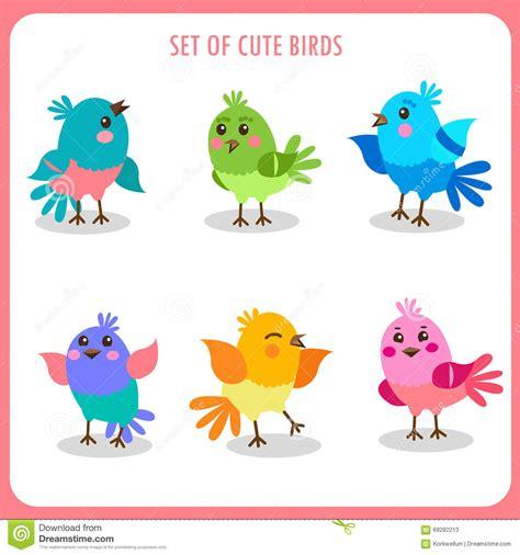 Lcute Set 3in1 Pigeons set of birds in vector colorful birds vector collection birds talking stock vector