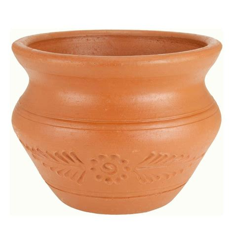 pr imports 14 in terra cotta narrow neck clay pot