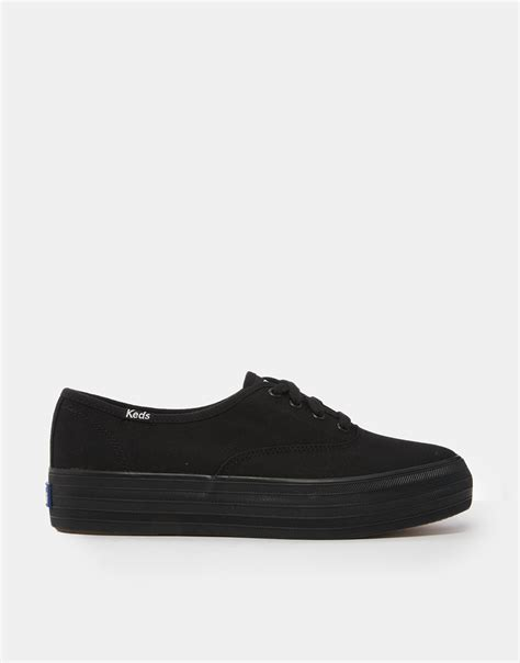Keds Tripple Black White lyst keds black flatform sneakers in black