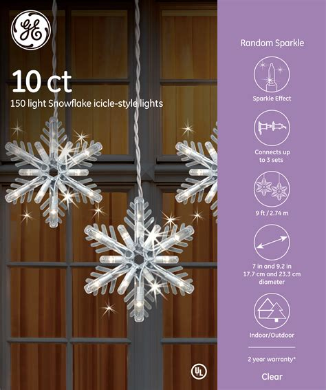 ge 3 ft hanging snowflake with chasing white led lights 78966 ge random sparkle incandescent 150 light snowflake icicle style lights 10ct clear ge