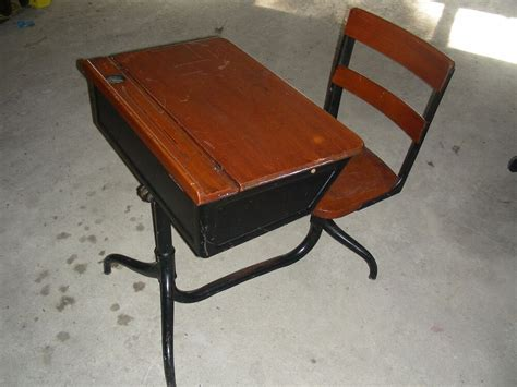School Desk With Chair Attached by Antique Child S Flip Up Wooden School Desk Ink Well