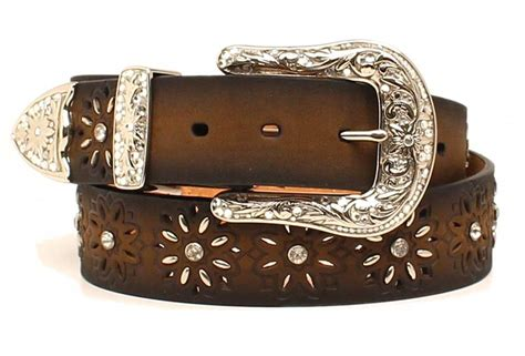 ariat western womens belt leather laced starburst brown
