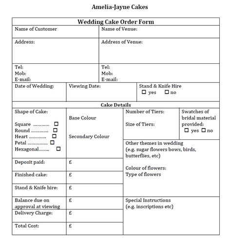 Wedding Cake Template by Wedding Cake Order Form Templates Inexpensive Navokal