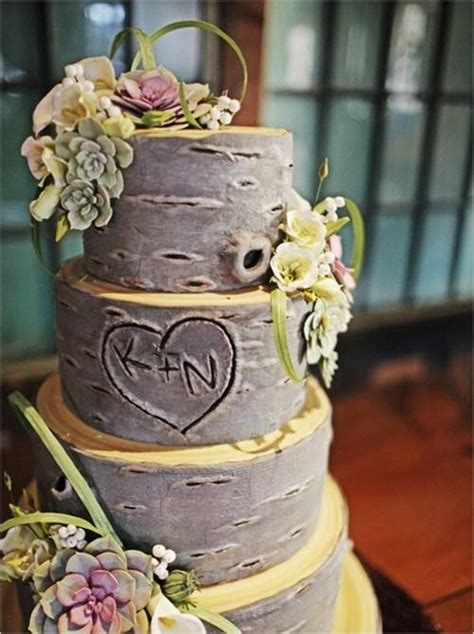 a tree bark wedding cake kansas wofford happily after initials orchid