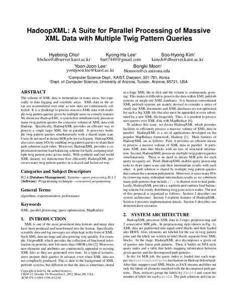 twig pattern xml hadoopxml a suite for parallel processing of massive xml