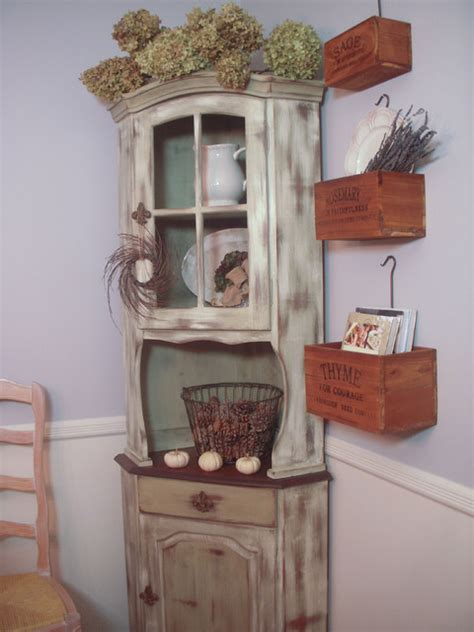 distressed corner hutch china cabinets and hutches new