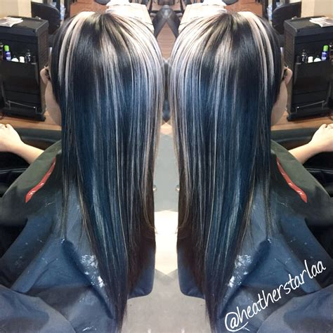 pictures of black hair with platinum blonde highlights all over black hair with chunky platinum blonde highlights