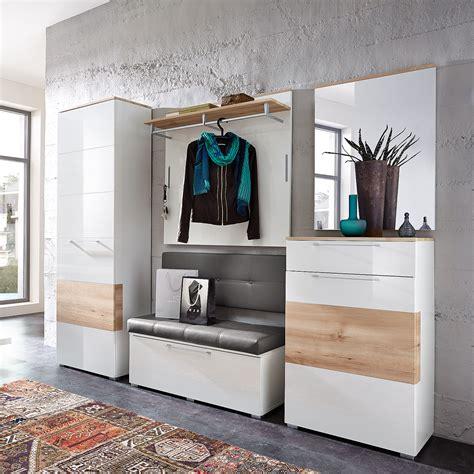 flurgarderobe mit bank garderobenset reno garderobe schrank bank spiegel in wei 223