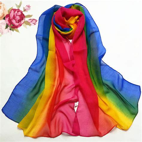 Colorful Rainbow Home Decor Ladyboom Top Sale 1 Pc Scarf Gradient Rainbow Color
