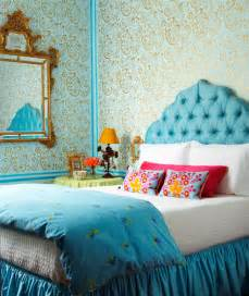 turquoise headboard eclectic bedroom dyment