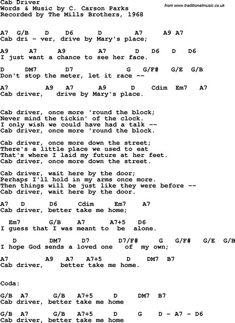 Song lyrics with guitar chords for Cab Driver - The Mills